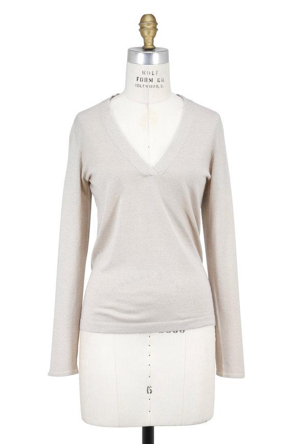 Brunello Cucinelli Latte Cashmere Lurex Overlapping V-Neck Sweater