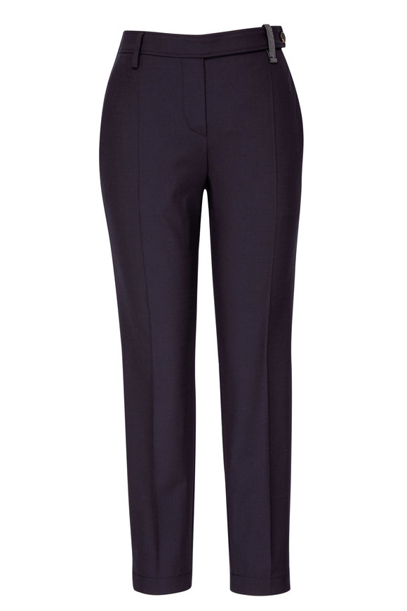 Brunello Cucinelli Black Lightweight Wool Ankle Pant