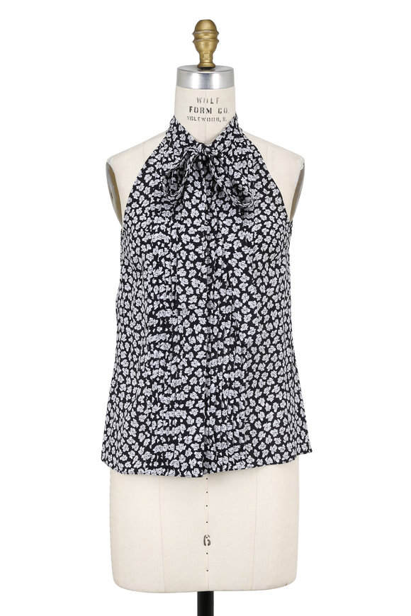 Michael Kors Collection Black & White Georgette Rose Print Halter Blouse
