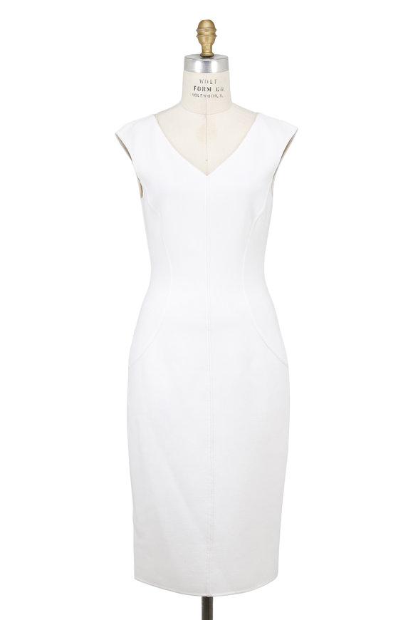 Michael Kors Collection White Stretch Bouclé Elliptical V-Neck Sheath