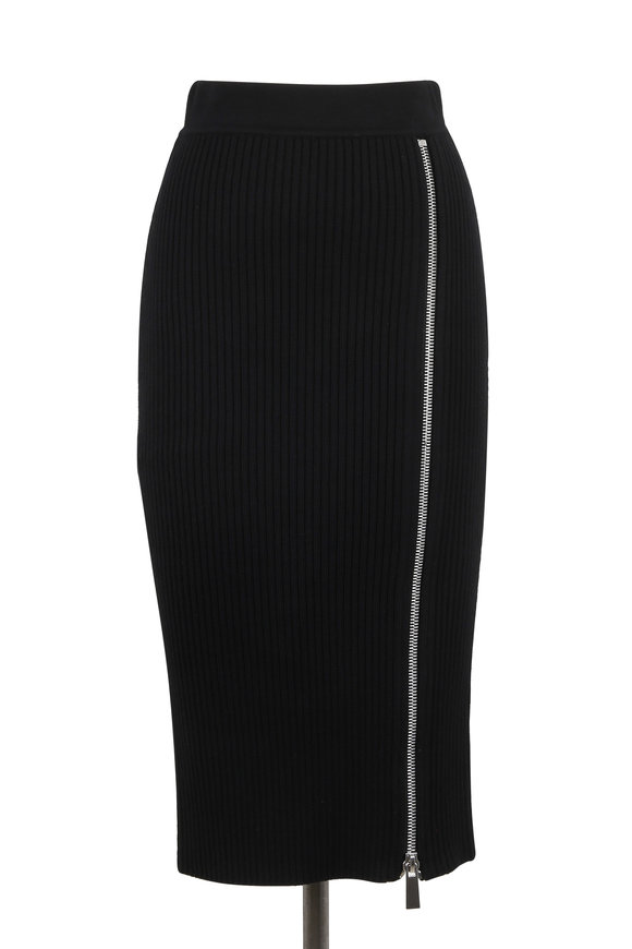 Michael Kors Collection Black Ribbed Stretch Wool Zip Pencil Skirt