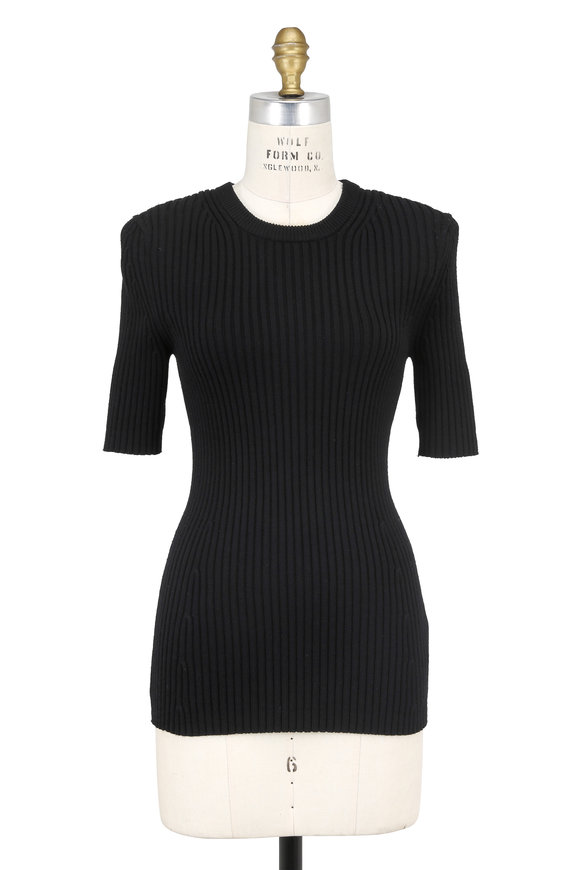 Michael Kors Collection Black Ribbed Stretch Wool Short Sleeve Sweater