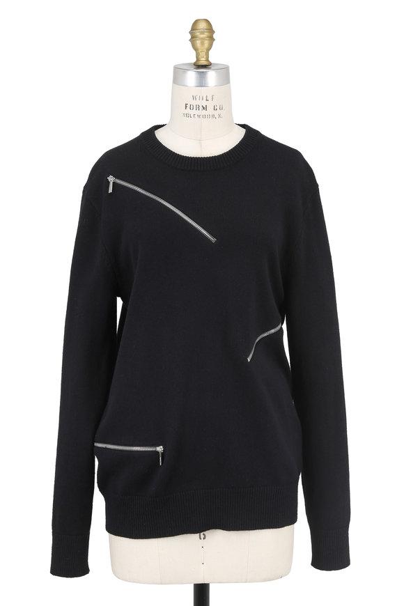 Michael Kors Collection Black Cashmere & Cotton Zip Crewneck Sweater