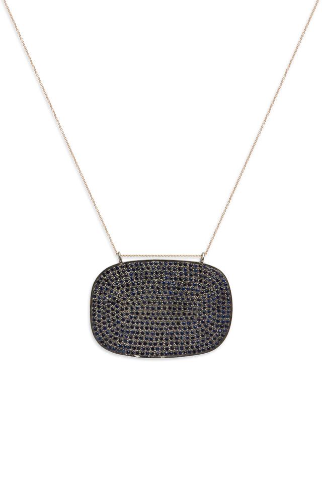 Rose Gold Pavé-Set Blue Sapphire Pendant
