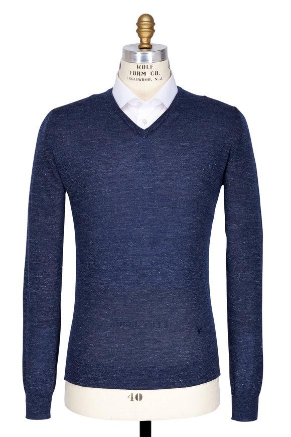 Isaia Blue Cashmere & Silk Melange V-Neckline Sweater