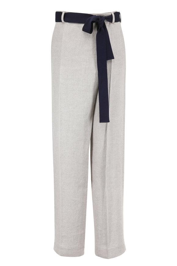 Victoria Beckham Ecru Herringbone Linen Overlap Trouser