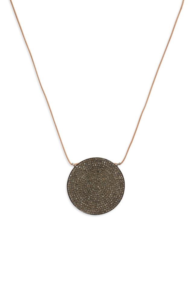 Round Leather Pavé-Set Diamond Pendant