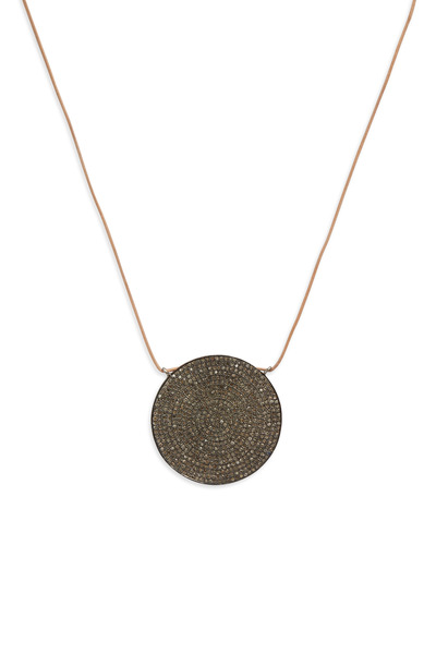 Tulah Jem - Round Leather Pavé-Set Diamond Pendant
