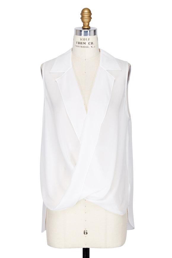 L'Agence Ivory Silk Draped Front Sleeveless Blouse