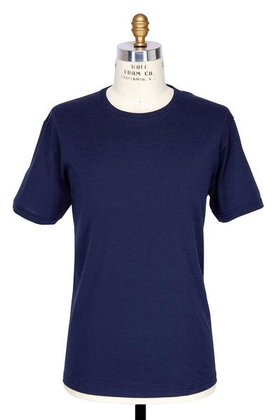 Handvaerk - Navy Blue Pima Cotton Crewneck T-Shirt