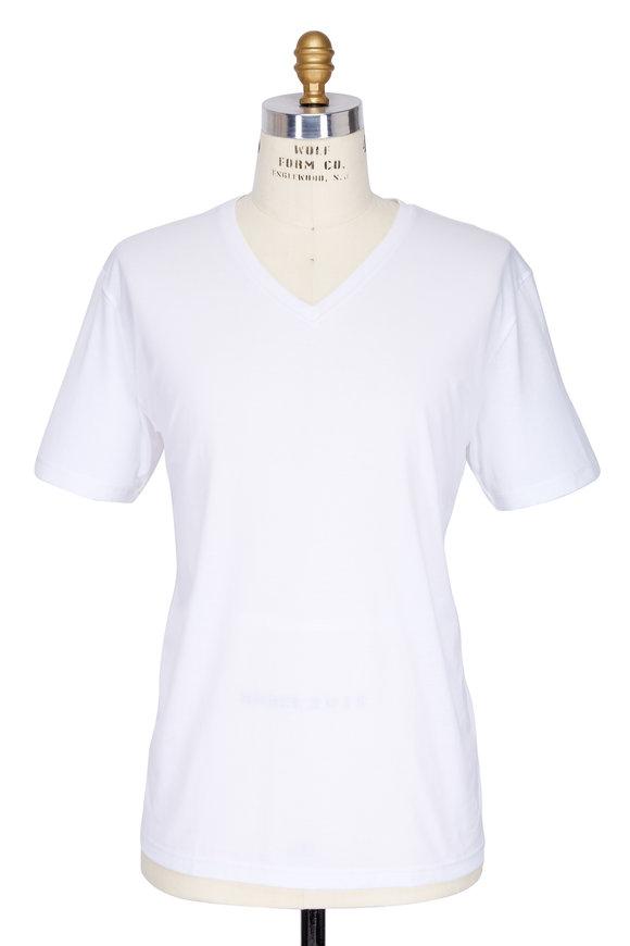 Handvaerk White Pima Cotton V-Neck T-Shirt