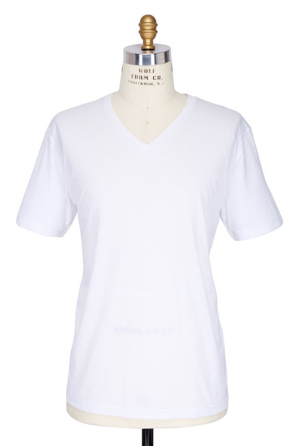 Handvaerk White Pima Cotton V-Neck T-Shirt