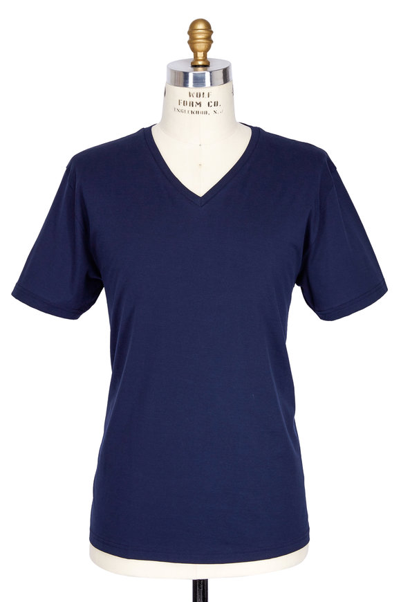 Handvaerk Navy Blue Pima Cotton V-Neck T-Shirt