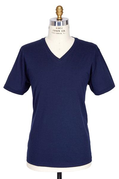 Handvaerk - Navy Blue Pima Cotton V-Neck T-Shirt