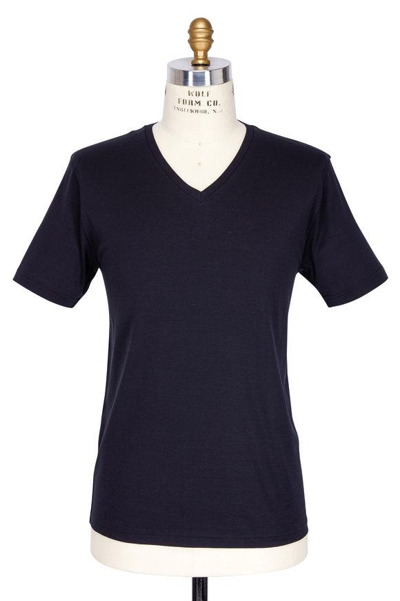 Handvaerk Black Pima Cotton V-Neck T-Shirt