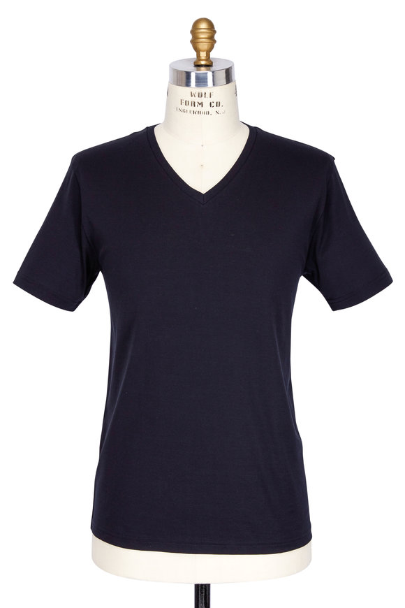 Handvaerk Black Pima Cotton V-Neck T-Shirt