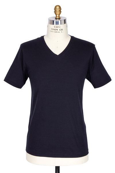 Handvaerk - Black Pima Cotton V-Neck T-Shirt