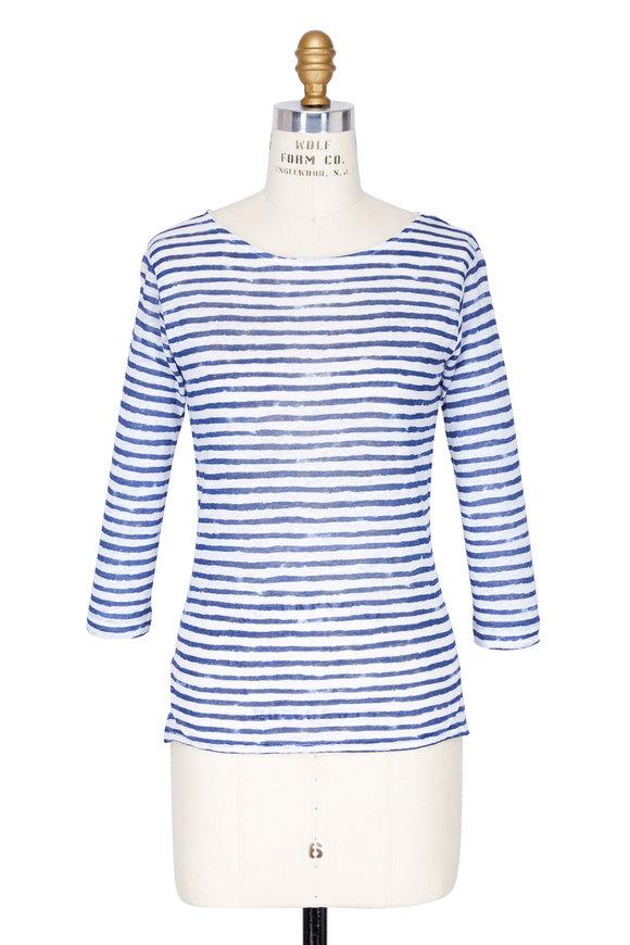 Majestic Indigo & White Striped Linen Top