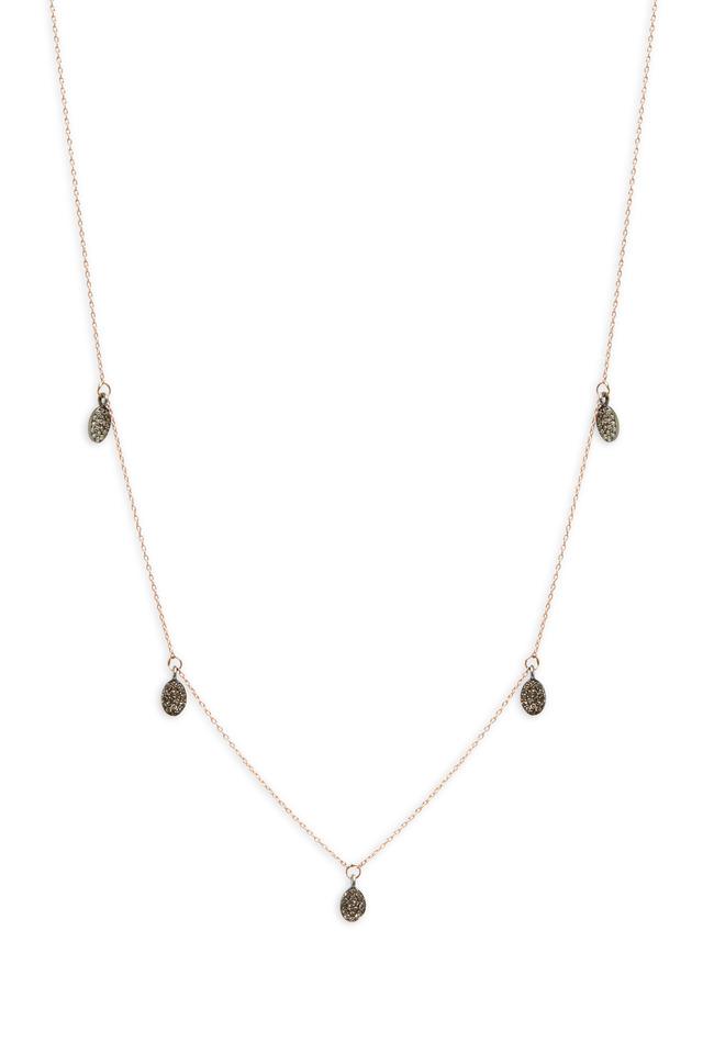 Rose Gold Pavé-Set Drop Bead Necklace