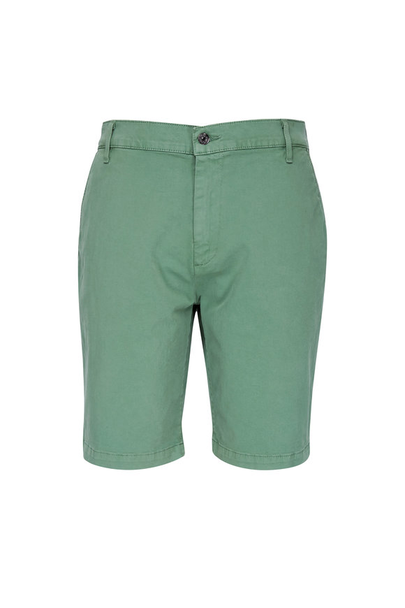 7 For All Mankind Palm Green Sateen Chino Shorts