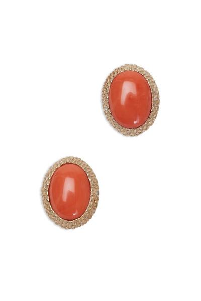 Frank Ancona - Yellow Gold Coral Cabochon Diamond Earrings