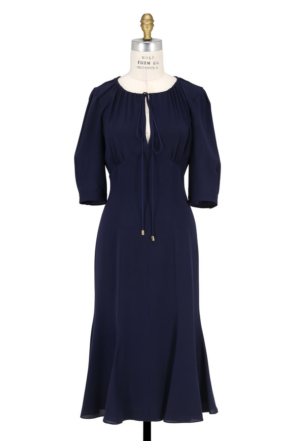 Michael Kors Collection Martime Blue Silk Keyhole Elbow Sleeve Dress