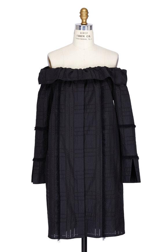 Partow Maceo Black Off-The-Shoulder Eyelit Dress