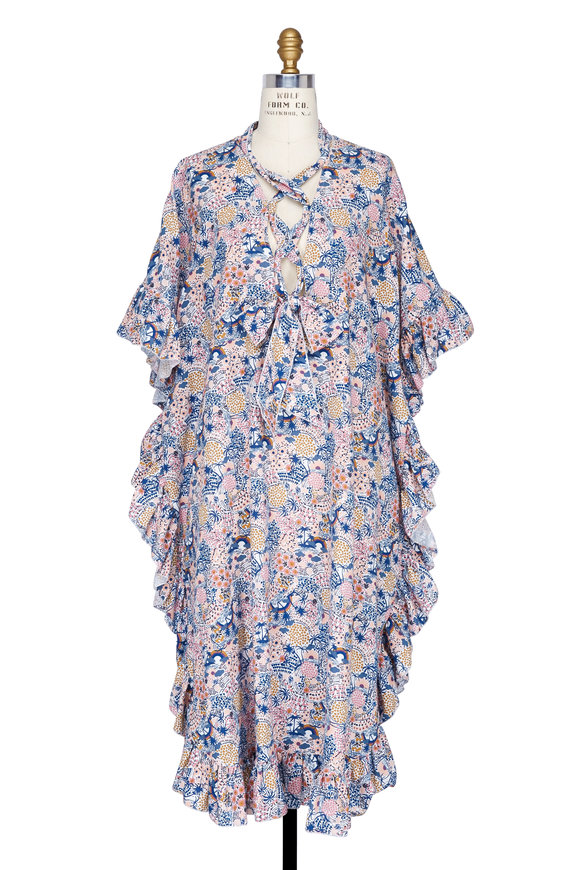 See by Chloé Multicolor Floral Lace-Up Ruffled Caftan