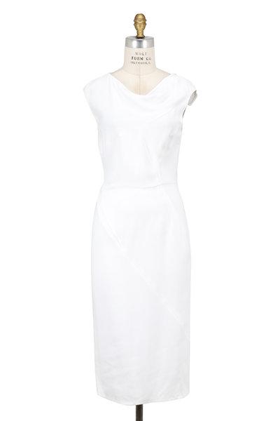 Narciso Rodriguez - White Draped Neck Cap Sleeve Dress