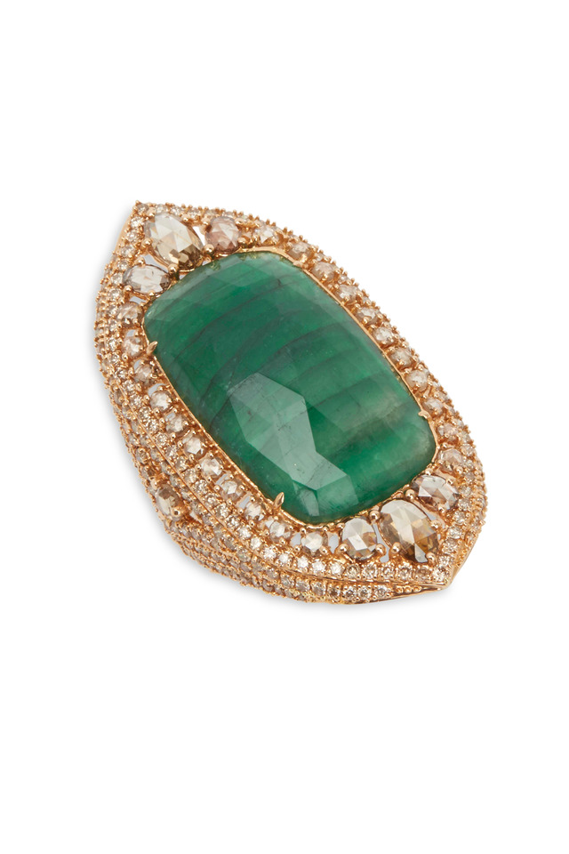 18K Rose Gold Emerald & Diamond Cocktail Ring