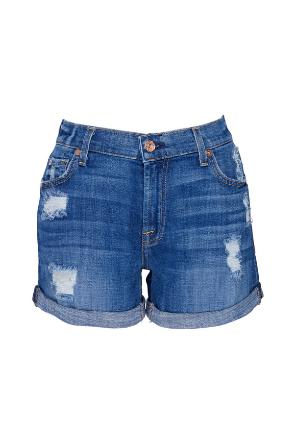 7 For All Mankind Relaxed Mid Roll Destroy Shorts