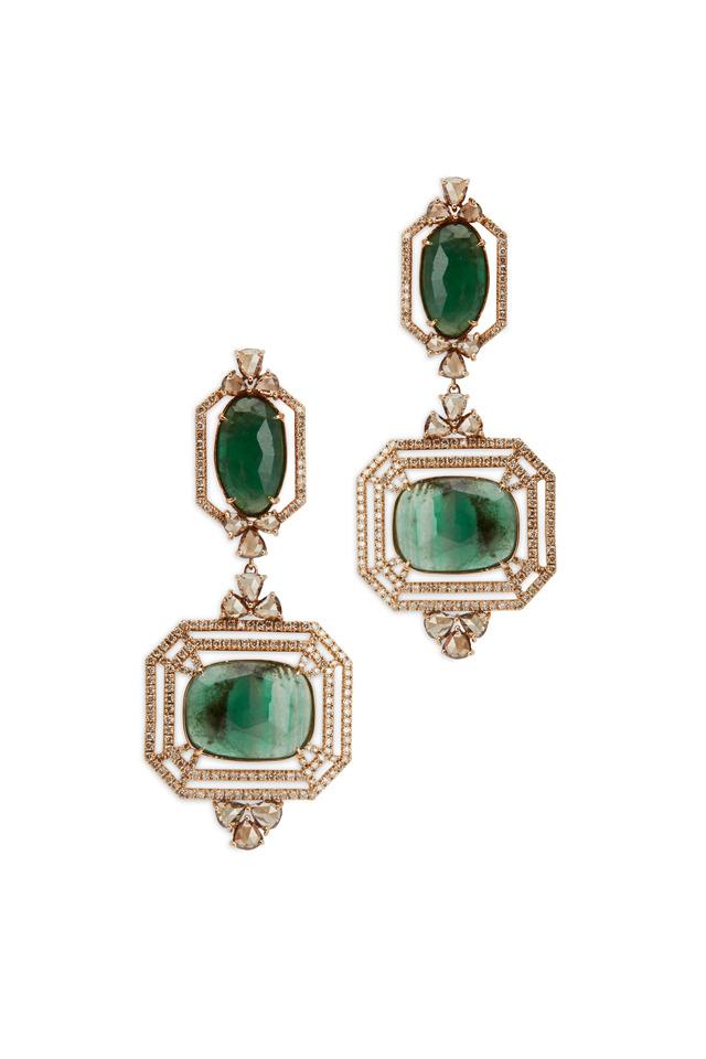 Yellow Gold Emerald White Diamond Dangle Earrings