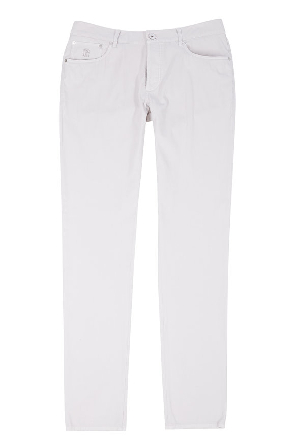Brunello Cucinelli Oat Stretch Cotton Slim Fit Pant
