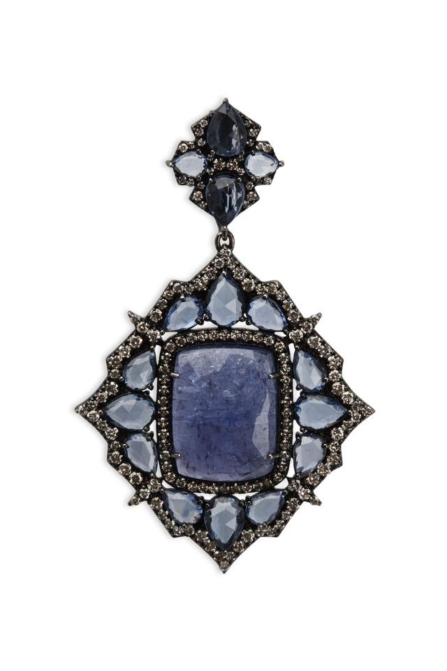White Gold Tanzanite Sapphire Diamond Pendant