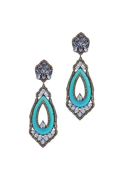 Sutra - 18K White Gold Agate & Sapphire & Diamond Earrings