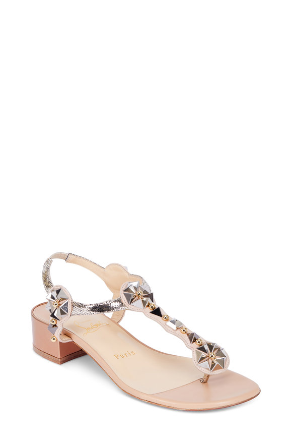Christian Louboutin Kaleidriss Nude Studded T-Strap Sandal; 25mm