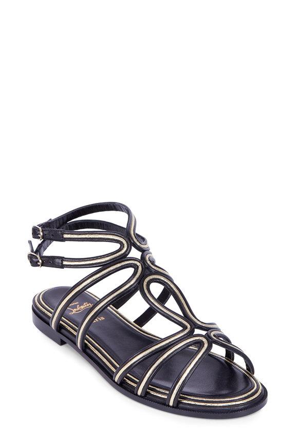 Christian Louboutin Zenosandy Nappa Black & Gold Ankle Strap Sandle