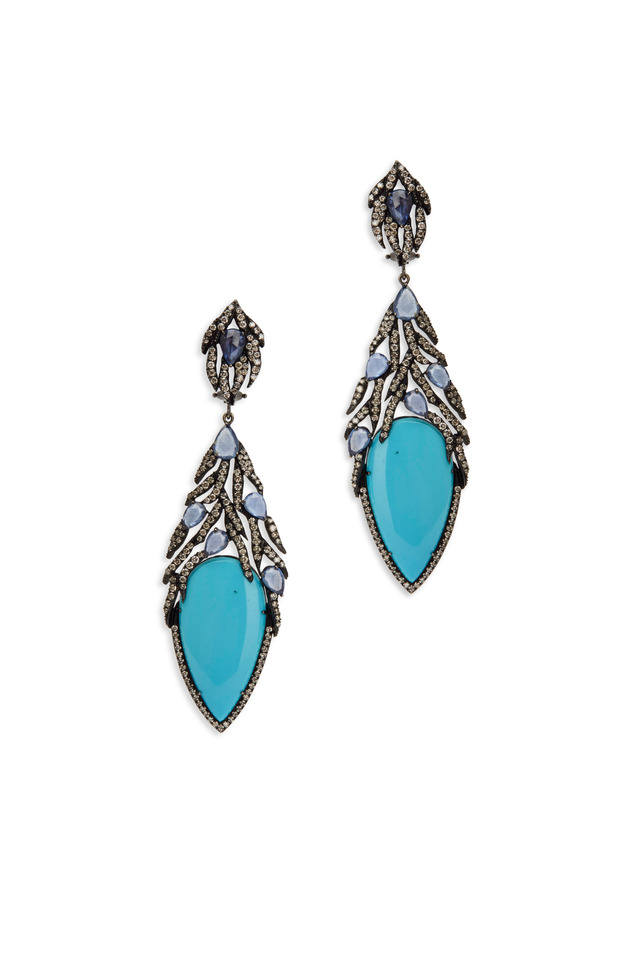 White Gold Turquoise White Diamond Earrings