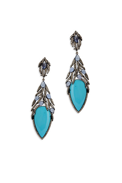 Sutra - White Gold Turquoise White Diamond Earrings