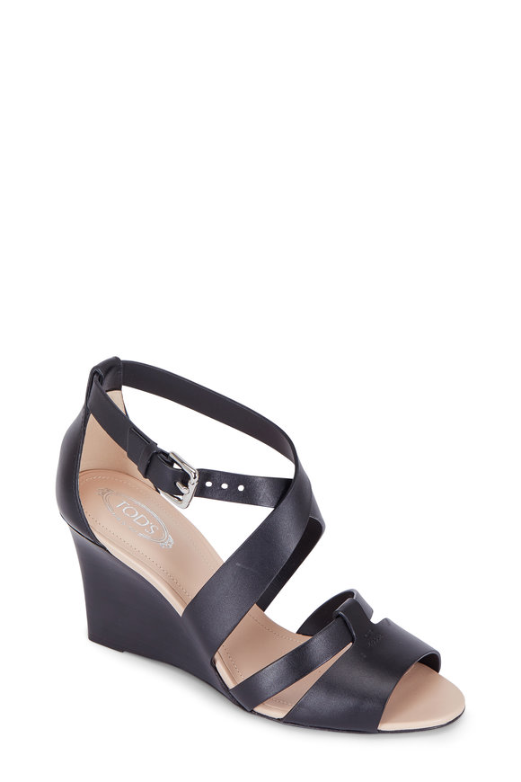 Tod's Black Leather Criss-Cross Wedge; 85mm