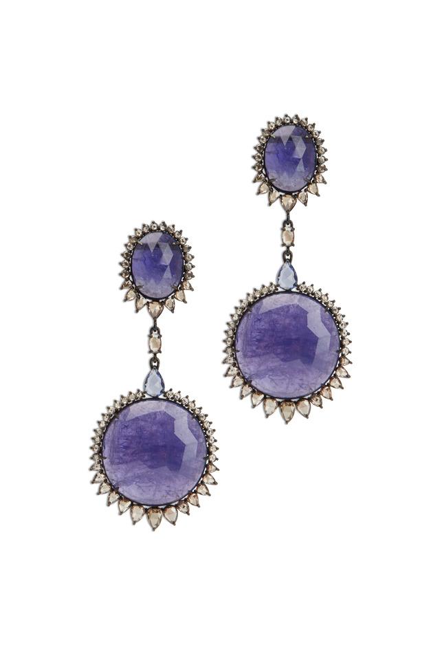 White Gold Tanzanite Sapphire Diamond Earrings