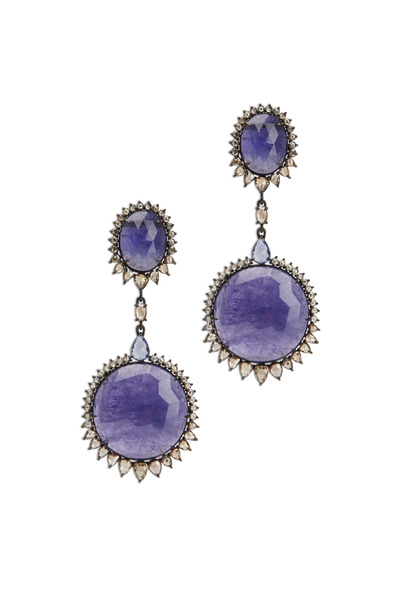 Sutra - White Gold Tanzanite Sapphire Diamond Earrings