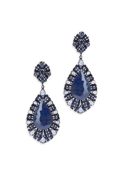 Sutra - 18K White Gold Blue Sapphire Drop Earrings