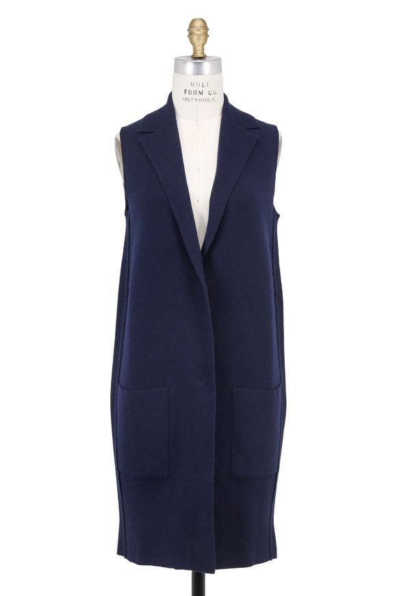 Iris von Arnim Naomi Navy Blue Cashmere Long Vest
