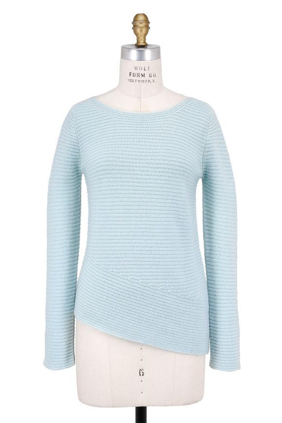 Iris von Arnim Sandra Mint Ribbed Cashmere Asymmetric Hem Sweater