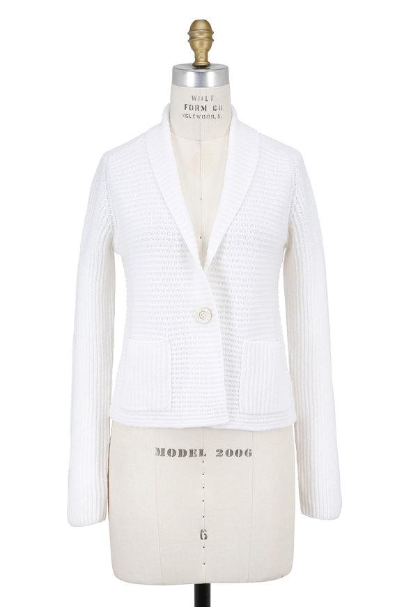 Iris von Arnim Shila White Ribbed Cashmere Single Button Jacket