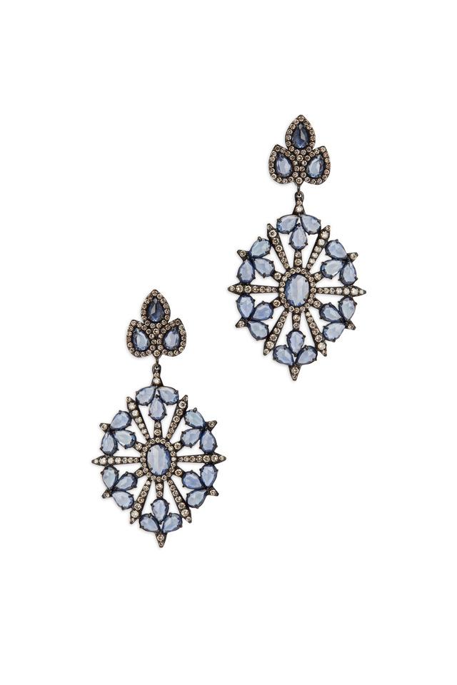 18K White Gold & Sapphire & Diamond Earrings
