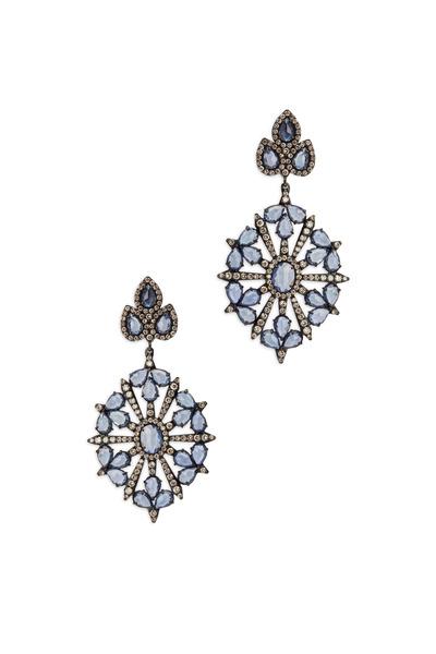 Sutra - 18K White Gold & Sapphire & Diamond Earrings