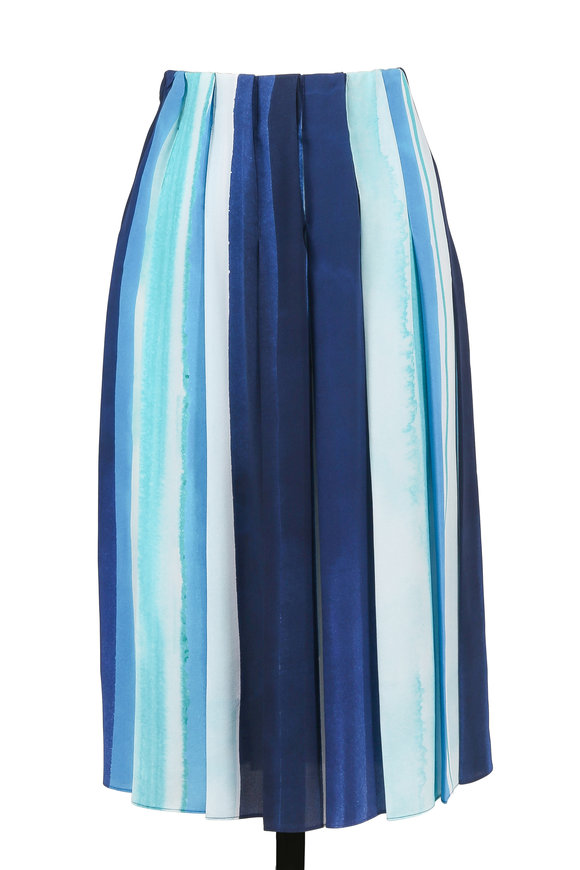 Iris von Arnim Lauren Aqua Silk Pleated Skirt