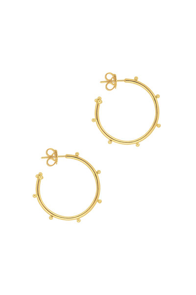 Temple St. Clair - 18K Yellow Gold Medium Granulated Hoops